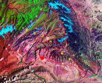 康村断隆是由ew向的塔里木盆地北侧的盆缘断裂和nee