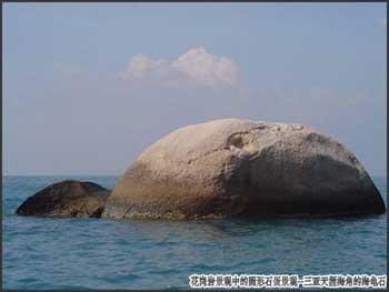 花岗岩景观中的圆形石蛋景观-三亚天涯海角的海龟石